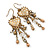 Vintage Inspired Crystal Bead Heart Earrings With Dangles In Antique Gold Tone - 60mm L - view 6