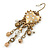 Vintage Inspired Crystal Bead Heart Earrings With Dangles In Antique Gold Tone - 60mm L - view 3