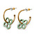 Vintage Inspired Small Hoop With Mint Flower Earrings In Gold Plating - 18mm Diamater