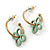 Vintage Inspired Small Hoop With Mint Flower Earrings In Gold Plating - 18mm Diamater - view 5