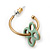 Vintage Inspired Small Hoop With Mint Flower Earrings In Gold Plating - 18mm Diamater - view 6