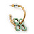 Vintage Inspired Small Hoop With Mint Flower Earrings In Gold Plating - 18mm Diamater - view 2