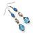 Long Blue Acrylic Bead Linear Drop Earrings In Antique Silver Metal - 75mm Length