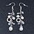 Silver Tone Glass, Simulated Pearl Bead Chain Drop Earrings - 65mm Length