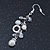Silver Tone Glass, Simulated Pearl Bead Chain Drop Earrings - 65mm Length - view 2