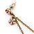 Gold Tone Pink Simulated Pearl, Enamel Flower Double Chain Dangle Earrings - 60mm L - view 5