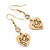 Gold Plated Heart With Dove, Crystal Drop Earrings - 50mm Length - view 7