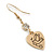 Gold Plated Heart With Dove, Crystal Drop Earrings - 50mm Length - view 6