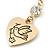 Gold Plated Heart With Dove, Crystal Drop Earrings - 50mm Length - view 4