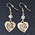 Gold Plated Heart With Dove, Crystal Drop Earrings - 50mm Length - view 2