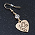 Gold Plated Heart With Dove, Crystal Drop Earrings - 50mm Length - view 3