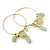 Medium Slim Gold Tone Hoop With Pale Green Bead Charm Earrings - 40mm Diameter