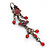 Vintage Inspired Red Enamel, Crystal, Bead Drop Earrings With Leverback Closure In Bronze Tone Metal - 65mm Length - view 8