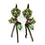 Light Green Enamel, Crystal Flower & Butterfly Drop Earrings With Leverback Closure In Burn Gold Tone - 55mm Length