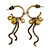 Small Vintage Inspired Bronze Tone Hoop Earrings With Olive Acrylic Beads & Chains - 55mm Length - view 2