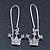 Silver Plated Crystal 'Crown' Drop Earrings - 45mm Length