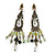 Vintage Inspired Bronze Tone Olive Green Acrylic Bead Chandelier Earrings - 70mm Length