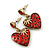 Vintage Inspired Red Enamel, Crystal 'Heart' Drop Earrings In Antique Gold Metal - 33mm Length - view 2