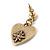 Vintage Inspired Red Enamel, Crystal 'Heart' Drop Earrings In Antique Gold Metal - 33mm Length - view 4