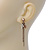 Vintage Inspired Chain, Cross, Bead Drop Earrings In Bronze Tone - 50mm Length - view 5