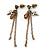 Vintage Inspired Chain, Cross, Bead Drop Earrings In Bronze Tone - 50mm Length