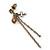 Vintage Inspired Chain, Cross, Bead Drop Earrings In Bronze Tone - 50mm Length - view 6