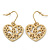 Matt Gold Tone Heart Drop Earrings - 25mm Length