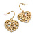 Matt Gold Tone Heart Drop Earrings - 25mm Length - view 4