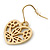 Matt Gold Tone Heart Drop Earrings - 25mm Length - view 5