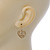 Matt Gold Tone Heart Drop Earrings - 25mm Length - view 3