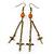 Long Vintage Inspired Chain Cross Dangle Earrings In Burn Gold Metal - 95mm Length