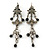Vintage Inspired Grey Enamel, Crystal, Bead Drop Earrings With Leverback Closure In Antique Silver Metal - 65mm Length
