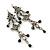 Vintage Inspired Grey Enamel, Crystal, Bead Drop Earrings With Leverback Closure In Antique Silver Metal - 65mm Length - view 6