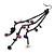 Long Black Tone Chain Dangle Earrings With Purple Acrylic Beads - 13cm Length - view 3