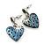 Vintage Inspired Blue Enamel, Crystal 'Heart' Drop Earrings In Antique Silver Metal - 33mm Length - view 7