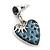 Vintage Inspired Blue Enamel, Crystal 'Heart' Drop Earrings In Antique Silver Metal - 33mm Length - view 4