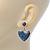 Vintage Inspired Blue Enamel, Crystal 'Heart' Drop Earrings In Antique Silver Metal - 33mm Length - view 3