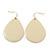 Cream Enamel Teardrop Earrings In Gold Tone - 50mm Length