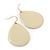 Cream Enamel Teardrop Earrings In Gold Tone - 50mm Length - view 2