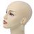 Cream Enamel Teardrop Earrings In Gold Tone - 50mm Length - view 3