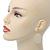 Cream Enamel Teardrop Earrings In Gold Tone - 50mm Length - view 8