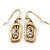 Vintage Inspired Open-Cut Square With Crystal Dangle Drop Earrings In Gold Tone - 30mm Length - view 3