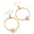 Gold Tone Hoop With Ball Drop Earrings - 55mm Length