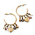 Medium Vintage Inspired Antique Gold Tone Hoop Earrings With Heart, Flower, Freshwater Pearl Charms - 40mm Length - view 2
