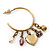 Medium Vintage Inspired Antique Gold Tone Hoop Earrings With Heart, Flower, Freshwater Pearl Charms - 40mm Length - view 3