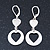 Matt Silver Tone Mother of Pearl Double Heart Drop Earrings With Leverback Closure - 50mm Length