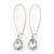 Silver Tone Clear Glass Teardrop Dangle Earrings - 70mm Length