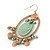 Vintage Inspired Oval Hoop With Freshwater Pearl, Light Green Mother of Pearl Charm Earrings In Gold Tone - 65mm Length - view 2