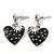 Vintage Inspired Black Enamel, Crystal 'Heart' Drop Earrings In Silver Tone Metal - 33mm Length