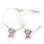 Medium Thin Silver Tone Hoop With Pale Pink Enamel Butterfly Drop Earrings - 30mm Diameter